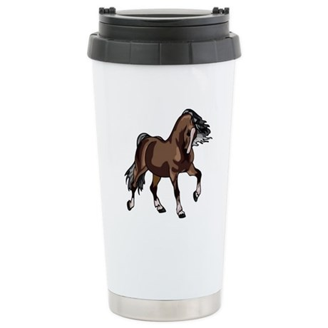Spirited Horse Dark Brown Ceramic Travel Mug
