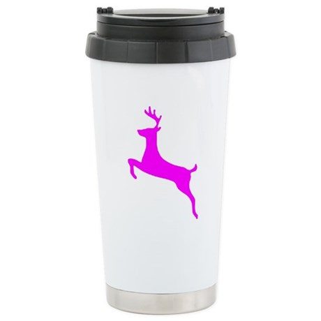 Hot Pink Leaping Deer Ceramic Travel Mug