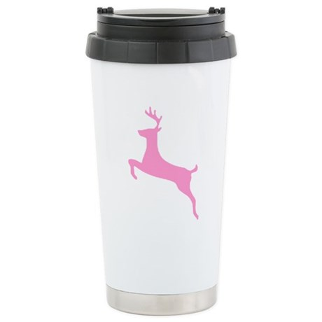 Pink Leaping Deer Ceramic Travel Mug