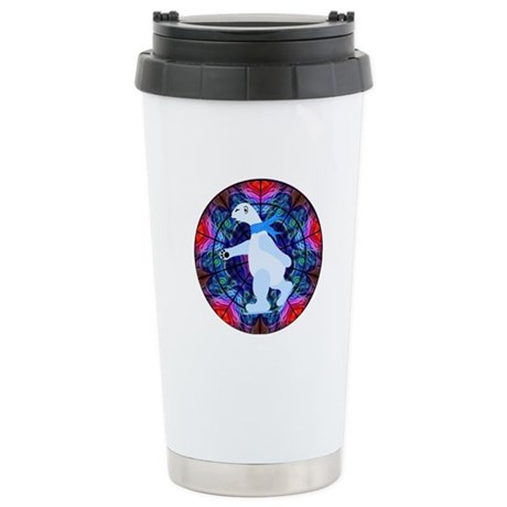 Skating Polar Bear Ceramic Travel Mug
