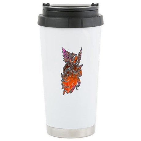 Pretty Orange Angel Ceramic Travel Mug