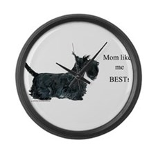 Mom's Scottish Terrier Large Wall Clock
