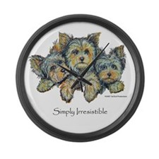 Yorkshire Terrier Puppies Large Wall Clock