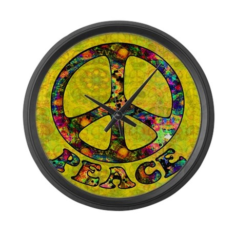 Painted Peace Symbol Large Wall Clock
