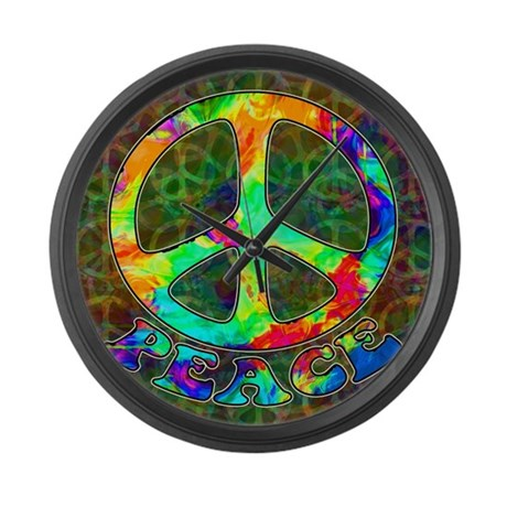 Rainbow Pool Peace Symbol Large Wall Clock
