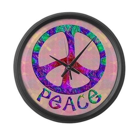 Flowery Peace Symbol Large Wall Clock