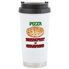 Pizza Breakfast of Champions Ceramic Travel Mug