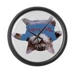 Yoga Kitty Cat Large Wall Clock