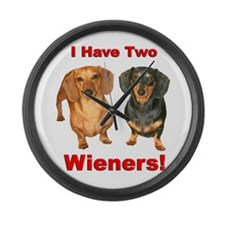 Two Wieners Large Wall Clock
