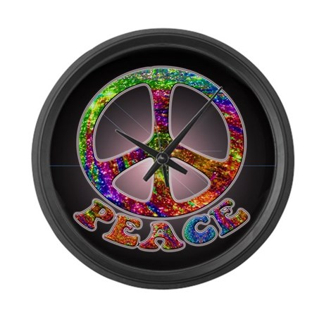 Jewelled Peace Symbol Large Wall Clock
