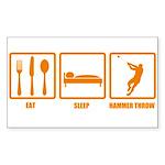 Eat Sleep Hammer Throw Rectangle Sticker
