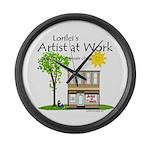 Lorilei's Artist at Work Large Wall Clock