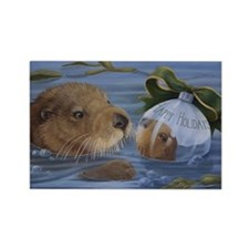 Christmas Otter Rectangle Magnet (10 pack)