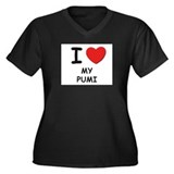 I love MY PUMI Women's Plus Size V-Neck Dark T-Shi