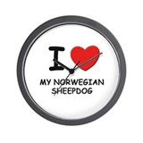 I love MY NORWEGIAN SHEEPDOG Wall Clock