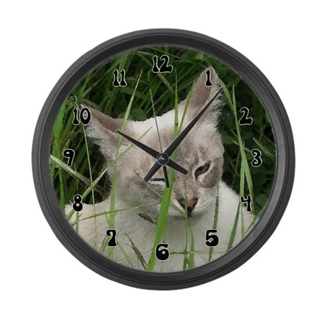 Winking Cat (Paint) Large Wall Clock