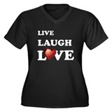 Live Laugh Love Women's Plus Size V-Neck Dark T-Sh