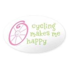 Happy Cycling Oval Sticker (50 pk)