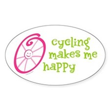 Happy Cycling Oval Decal