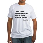 Wilde Happiness Quote (Front) Fitted T-Shirt