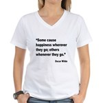 Wilde Happiness Quote (Front) Women's V-Neck T-Shi