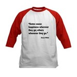Wilde Happiness Quote (Front) Kids Baseball Jersey