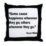 Wilde Happiness Quote Throw Pillow