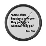 Wilde Happiness Quote Large Wall Clock