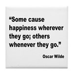 Wilde Happiness Quote Tile Coaster