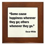 Wilde Happiness Quote Framed Tile