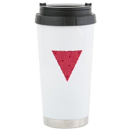 Pink Triangle Knot Ceramic Travel Mug