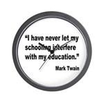 Mark Twain Education Quote Wall Clock