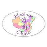 Huainan China Map Oval Sticker (10 pk)