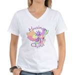 Huainan China Map Women's V-Neck T-Shirt