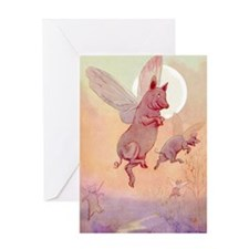 WHEN PIGS FLY IN WONDERLAND Greeting Card