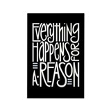 Everything Happens Black Rectangle Magnet (10 pack