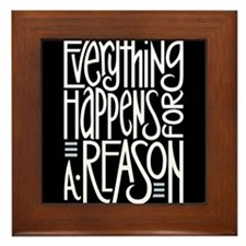 Everything Happens Black Framed Tile