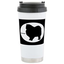 Keeshond Silhouette Ceramic Travel Mug