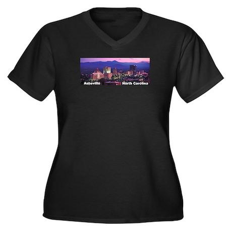 Asheville, NC Women's Plus Size V-Neck Dark T-Shir