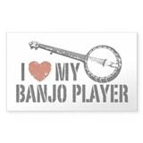 I Love My Banjo Player Rectangle Decal