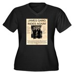 The James Gang Women's Plus Size V-Neck Dark T-Shi
