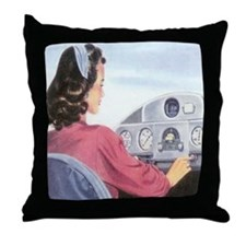 Female Pilot Throw Pillow