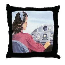 Female Pilot Throw Pillow