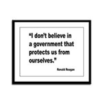 Reagan Government Quote Framed Panel Print
