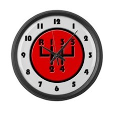 Stick shift Large Wall Clock