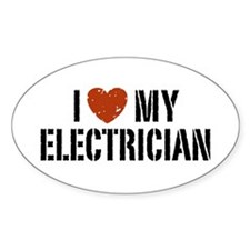 I Love My Electrician Oval Decal