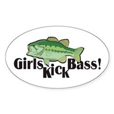 Girls Kick Bass! Oval Decal