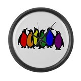 Rainbow Penguins Large Wall Clock