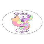 Jinjiang China Map Oval Sticker (10 pk)