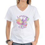 Longyan China Map Women's V-Neck T-Shirt